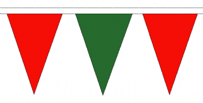 Red and Green Traditional 20m 54 Flag Polyester Triangle Flag Bunting
